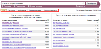 statistics of queries by device type in Yandex.WordStat