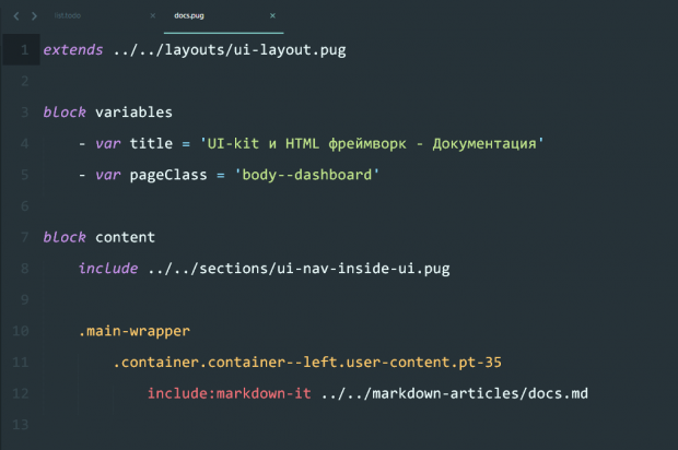 Including md markup in pug files